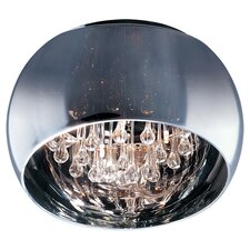 Satie 5 Light Flush Mount in Mirrored Chrome