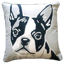 Reversible Boston Terrier Throw Pillow in White
