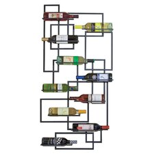 Mid Century 10 Bottle Wine Rack in Black
