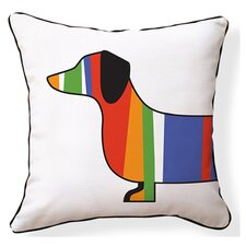 Dachshund Reversible Throw Pillow in White