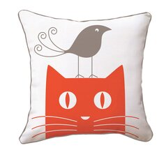 Cat and Bird Reversible Throw Pillow