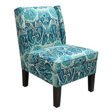 Ikat Armless Wingback Chair in Teal