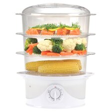 3 Tier Food Steamer in White