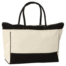 Zip Tote Bag in Cream & Black