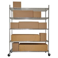 5 Tier Commercial Shelving Rack in Chrome
