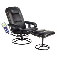 Leisure Massage Chair & Ottoman in Black