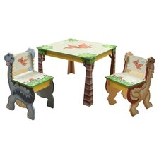 Dinosaur Kingdom 3 Piece Table & Chair Set in Blue
