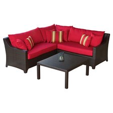 Cantina 4 Piece Seating Group in Espresso with Red Cushions