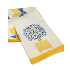 Lemon Tree Tea Towel in Blue & Yellow