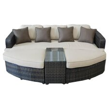 4 Piece Seating Group in Brown with Tan Cushions