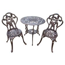 Palm Tree 3 Piece Bistro Set in Antique Bronze