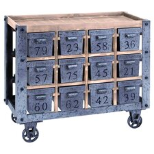 Numbered Drawer Wood Top Kitchen Cart in Natural