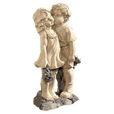 Young Sweethearts Kissing Statue in Stone