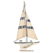 Seaside Nautical Striped Sailboat Décor