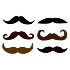 6 Piece Mustache Rubber Magnet Set