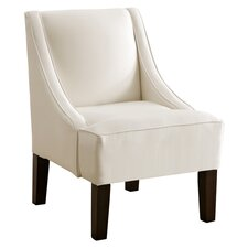 Shantung Swoop Slipper Chair in Parchment