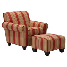 Westfield Chair & Ottoman in Crimson