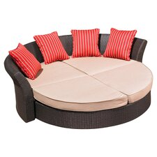 Corinth Daybed in Espresso with Beige & Crimson Cushions