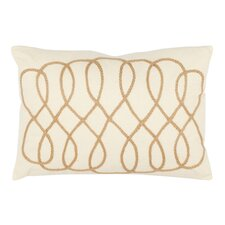 Gia Lumbar Pillow in White & Wheat