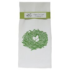 Organic Nest Tea Towel in Green & White