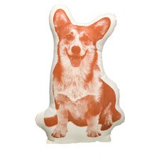 Organic Corgi Throw Pillow in Orange