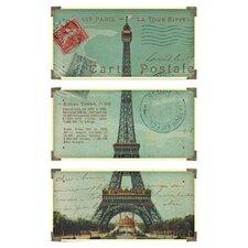 Eiffel Tower Postale 3 Panel Wall Art