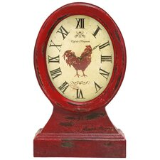 Vintage Farmer Table Clock in Red