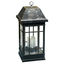 Solar Pillar Candle Lantern in Antique Black