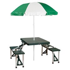 Picnic Table & Umbrella Combo Pack in Green