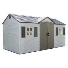 Extended Plastic Storage Shed in Taupe
