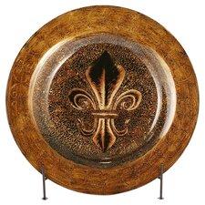 Fleur De Lis Glass Platter in Bronze