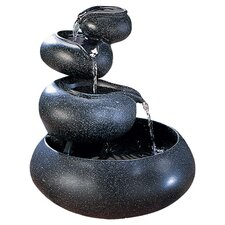 Stacked Natural Bowls Fountain in Granite Black