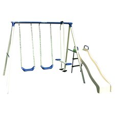 Swing N Glide Swing Set in Ivory & Blue