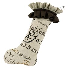Linen Trimmed Stocking in Natural