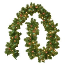 Pre-Lit Colored 9' Evergreen Branch Garland
