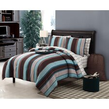 Joseph Reversible Comforter Set in Blue & Chocolate