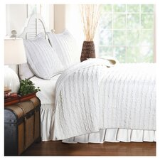 Bella Ruffled Quilt Set in White