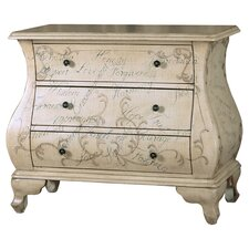 Bombe 3 Drawer Chest in White