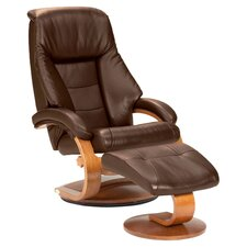 Oslo Ergonomic Recliner & Ottoman in Brown