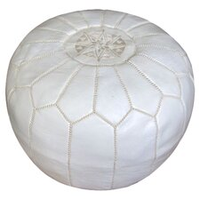 Moroccan Leather Pouf Ottoman in White