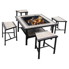Serengeti Sunrise 5 Piece Firepit Dining Set in Black & White