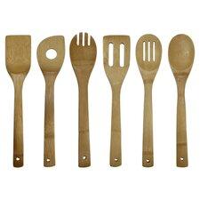 6 Piece Kitchen Utensil Set in Brown