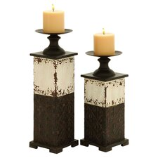 Qana 2 Piece Metal Candle Holder Set in Rustic Brown