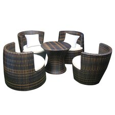Hedwig 5 Piece Seating Group in Brown with White Cushions