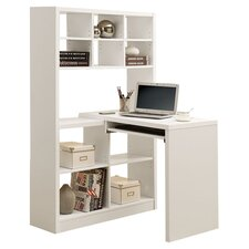 Bookcase Corner Desk in White