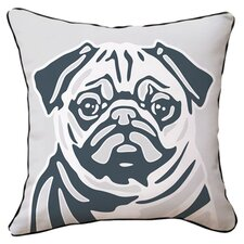 Pug Reversible Throw Pillow in White & Grey
