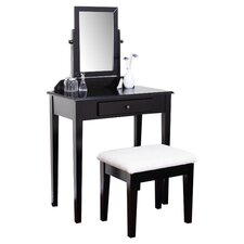 2 Piece Contemporary Vanity & Stool Set in Espresso