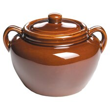 Ceramic Oval Bean Pot in Brown