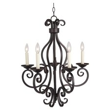 Bergamo 5 Light Candle Chandelier in Bronze