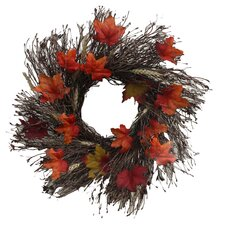 Fall Foliage Twig Wreath in Brown & Orange